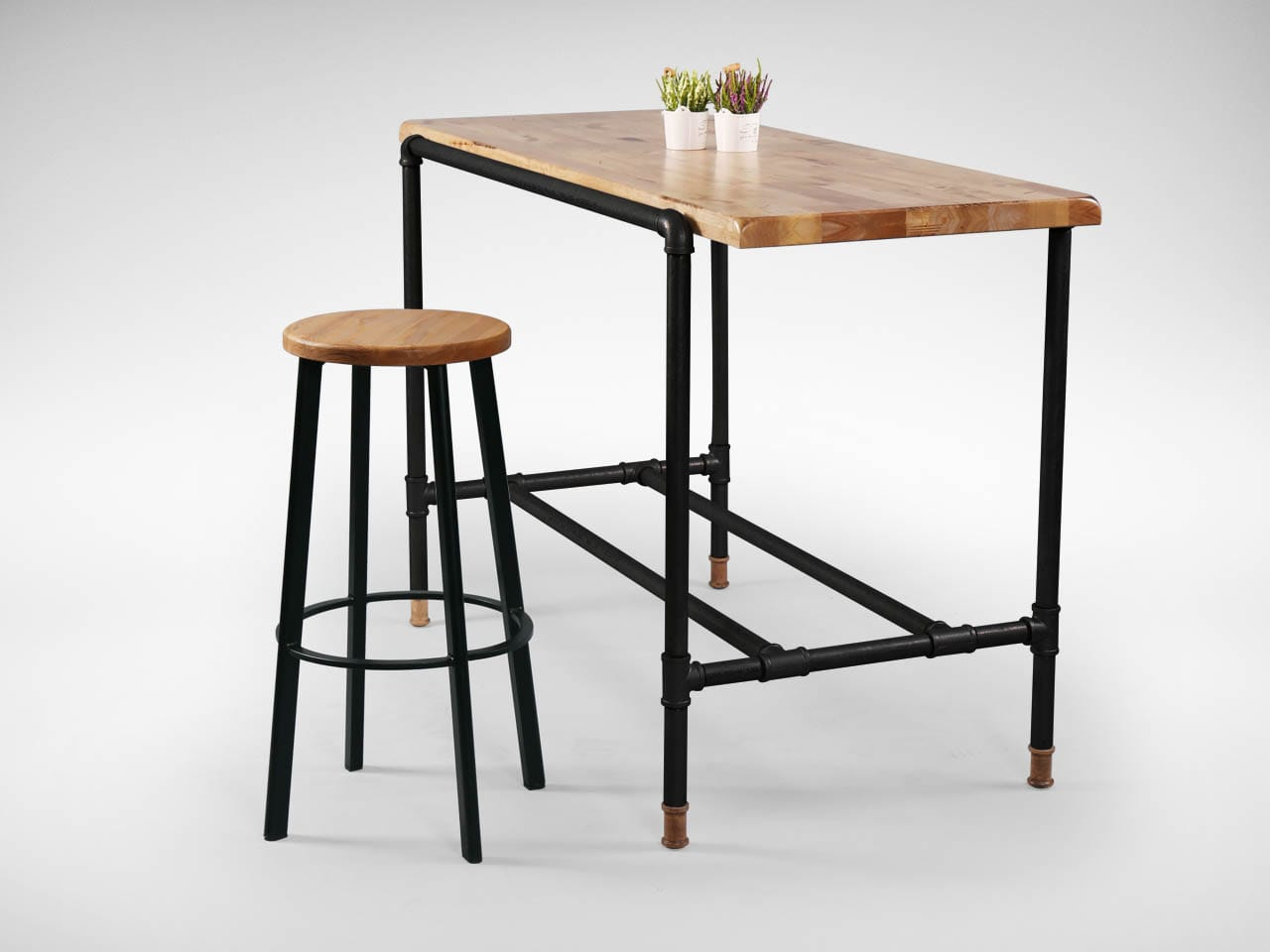 [Toyo Barstool – Wood + Black Epoxy & Pipe Black Frame Bar Table]<br />