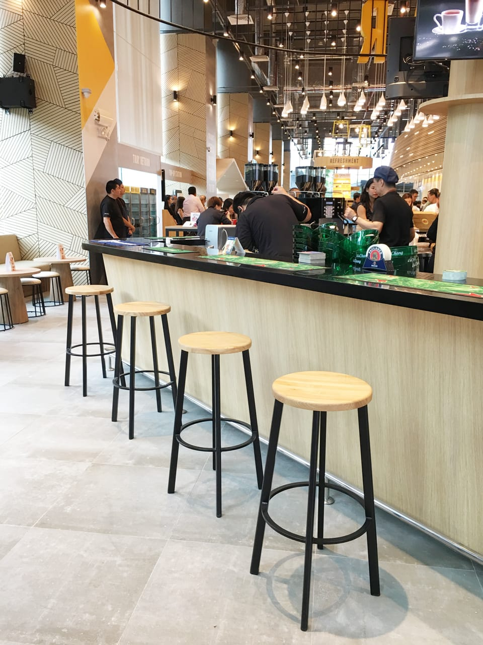 Kitchen Loft - MapleTree Business City | Products Seen: [Toyo Barstool – Wood + Black Epoxy & Campus Stool]<br />