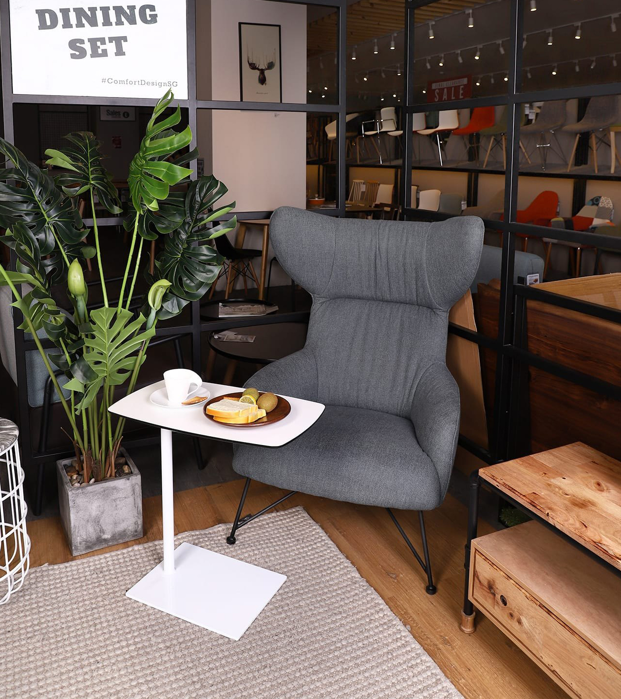 [Oxy Lounger, Tree - Monstera H1600 & Lappy Coffee Table]