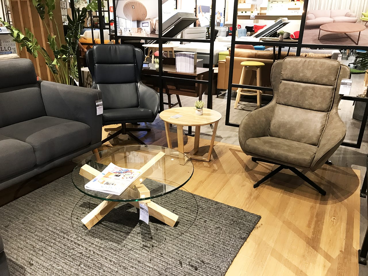 [Rino Lounger, Quiche Coffee Table & Rocket Coffee Table]