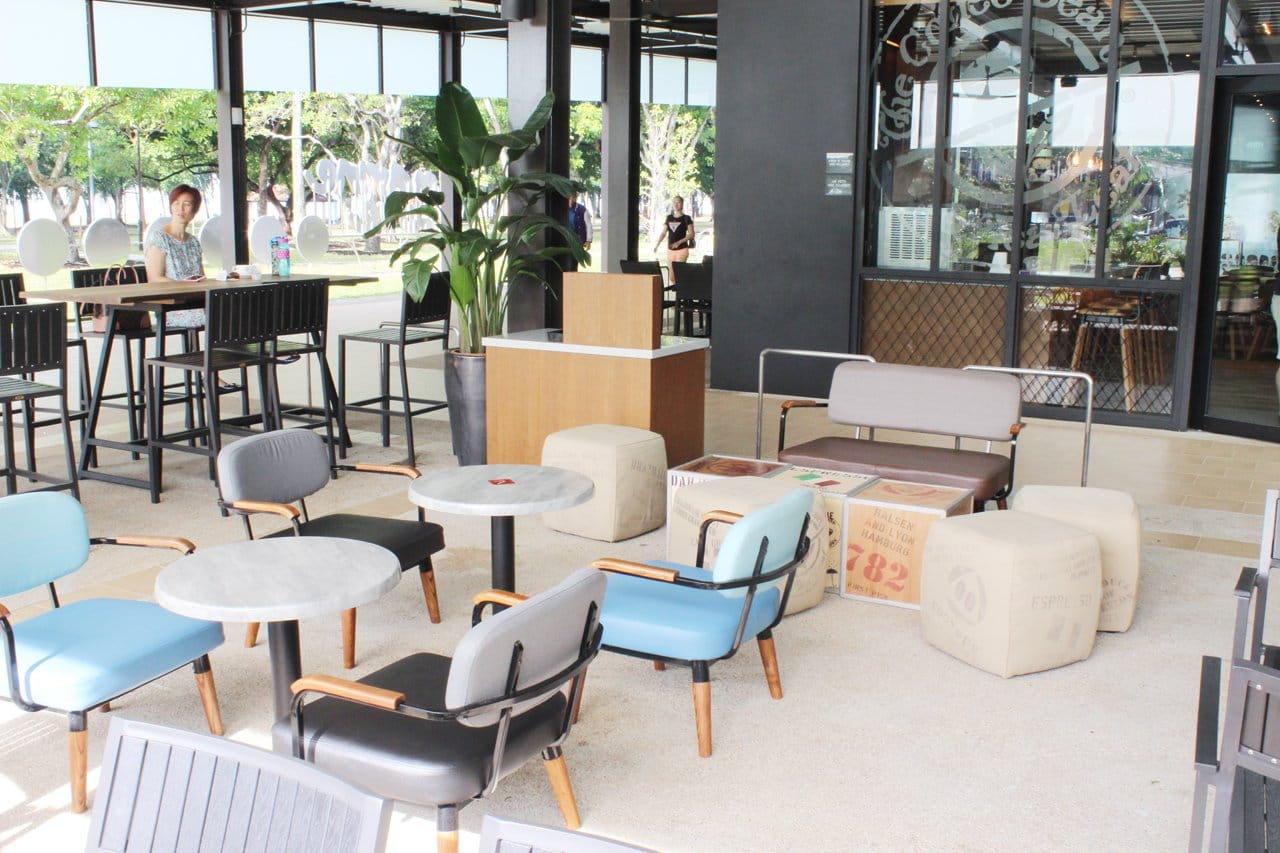 Coffee Bean - Marine Cove | Products seen: [Astro 1, 2 Seater Sofa, Customised coffee table, Customised Square Pouf, Warner Outdoor Armchair & Customised coffee table with Filo Table Base]<br />