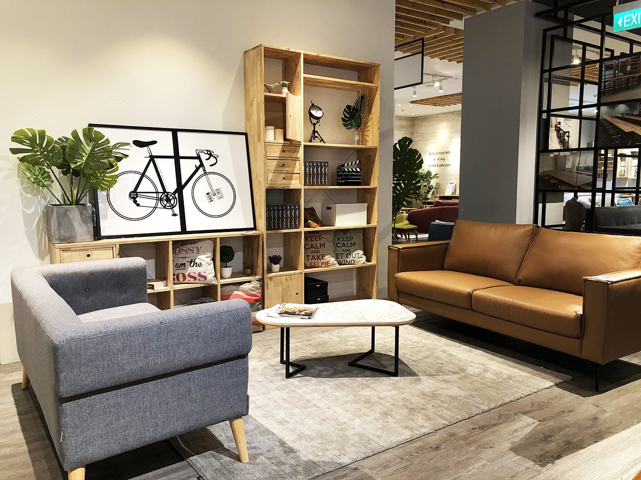 [Marvel 3 Seater Sofa – Half Leather, Sonia 2.5 Seater Sofa, Tree - Monstera H900, Poster – Bicycle, Yoko Shelf 6L - W1200, Yoko Shelf 2x4 &  Ayako Coffee Table – Ov1000]