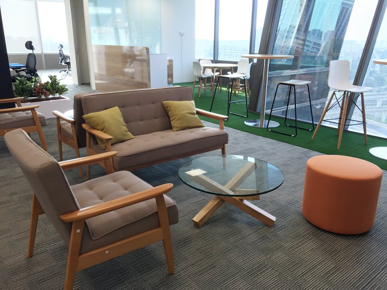 Dan Impact Pte Ltd - WestGate Building | Products Seen: [Oakland Round Dining Table – Natural, Diego Chair, Customised Traxtor Round Table Base, Turf Barstool, Plug Tower Barchair, Agatha Sofa, Pouf Round & Quiche Coffee Table]<br />