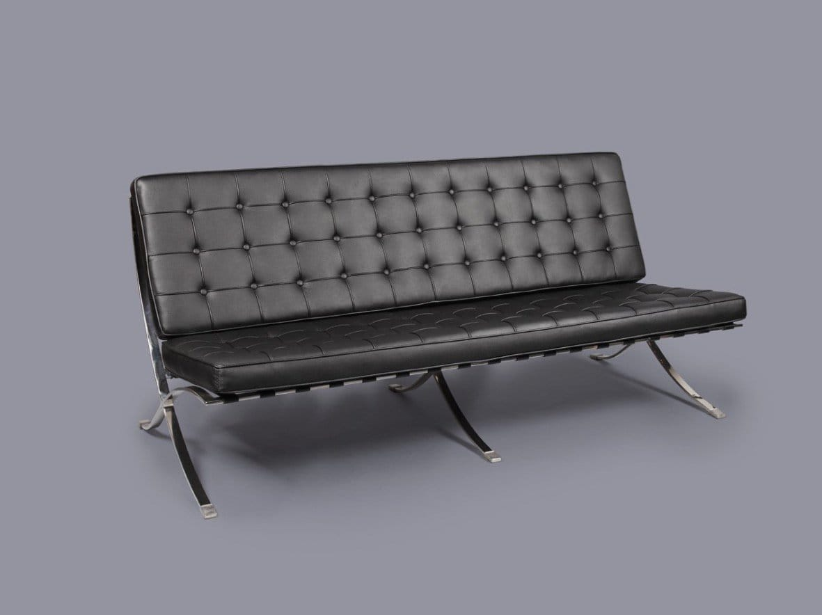 Barcelona replica 3 seater sofa comfort design the for Design sofa replica