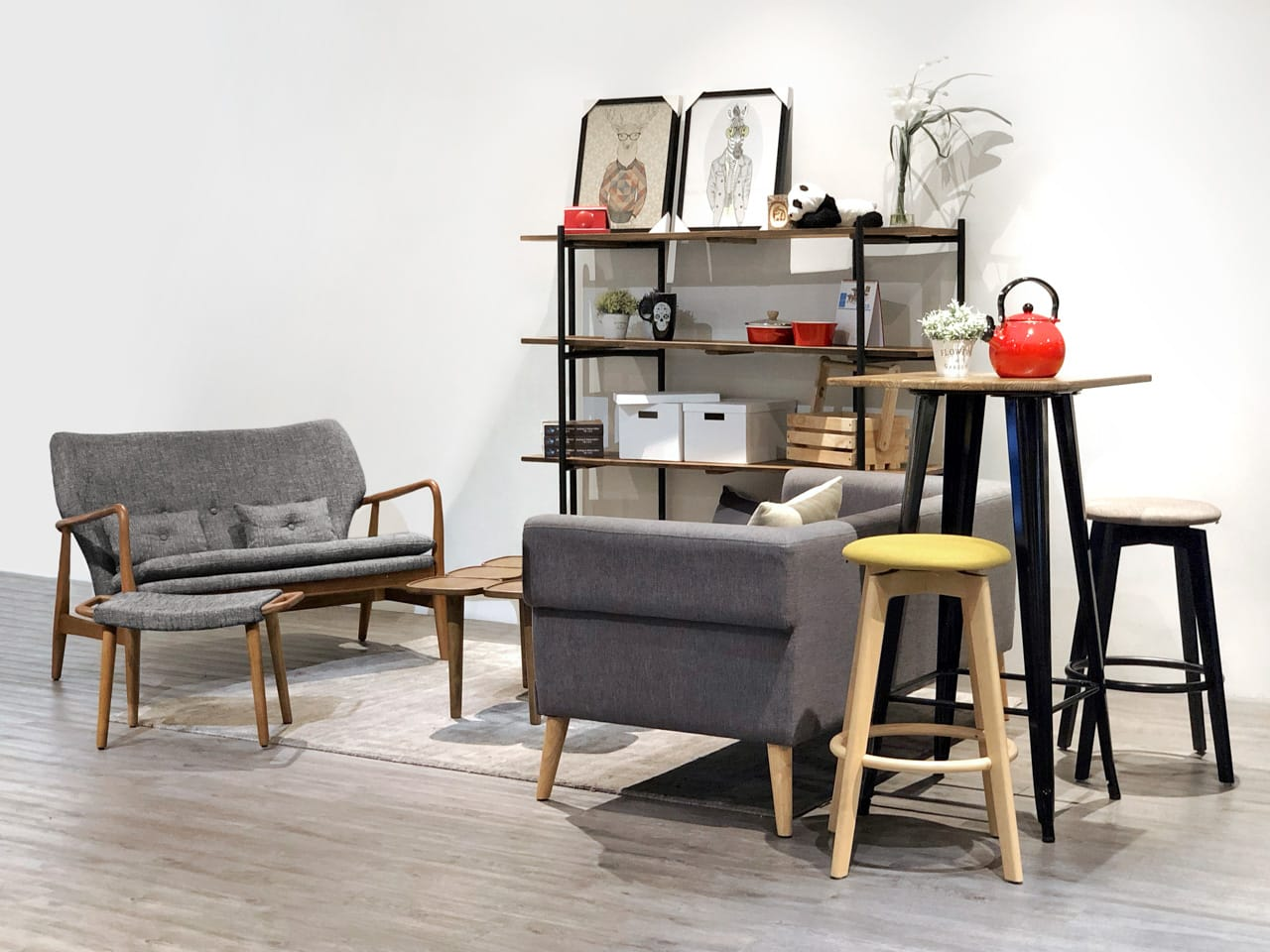 [Emma Sofa - 2 Seater, Emma Ottoman, Sonia 2.5 Seater Sofa, Genki 4-Tier Shelf, Dojo Bar Table & Obie Barstool]