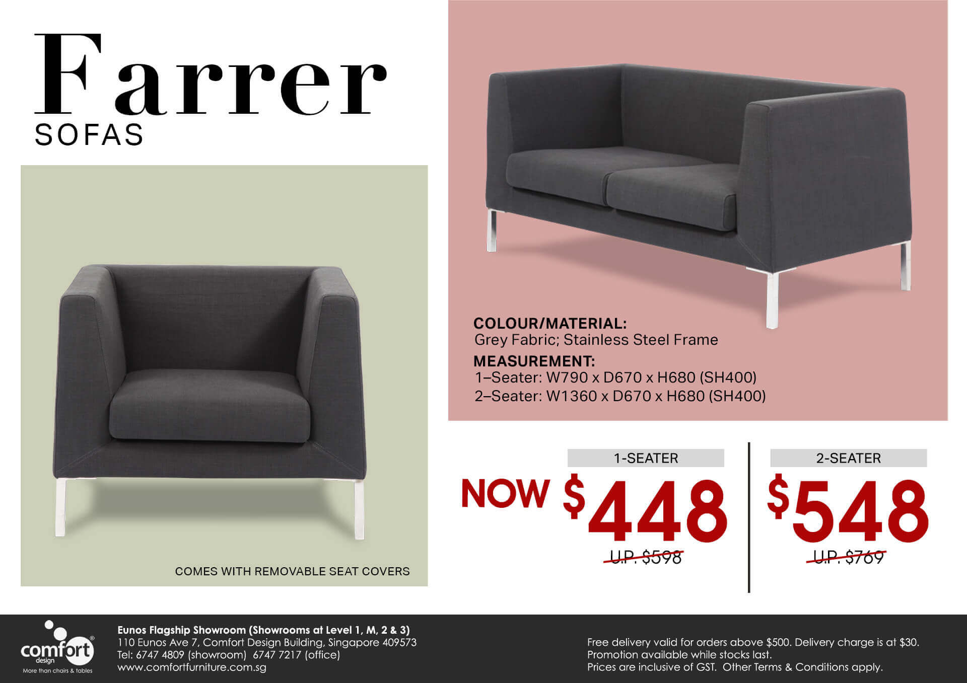 Farrer 1–Seater Sofa | Comfort Design - The Chair & Table People