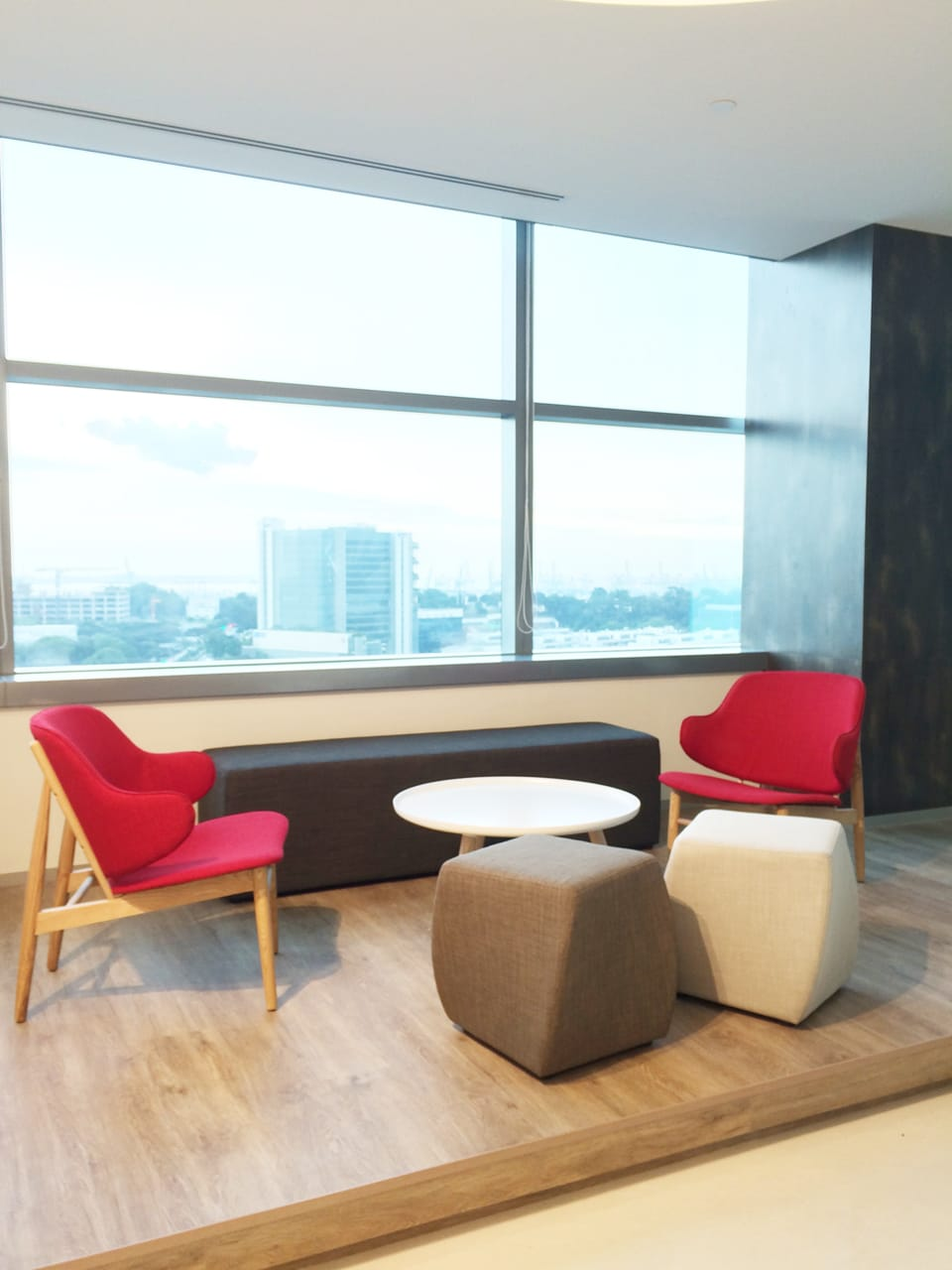 Office - Fusionopolis Innovis | Products Seen: [Lucy Coffee Table – Big, Shiraz Lounger, Pouf Rectangle & Cuba Stool]<br />