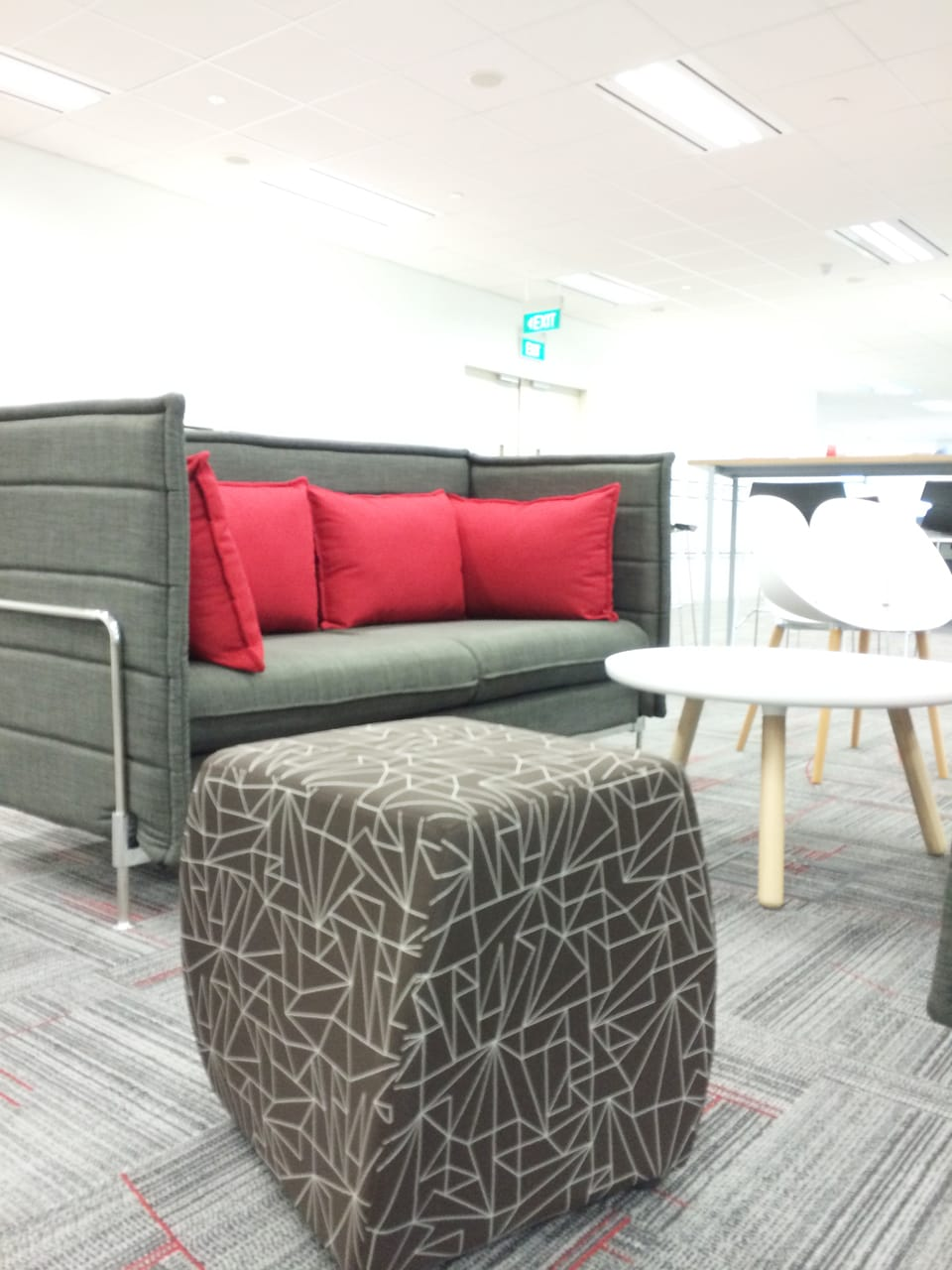 Office - Fusionopolis Innovis | Products Seen: Enclosed 3 Seater Sofa (Midback), Cuba Stool, Lucy Coffee Table – Big & Macaroni Chair]<br />