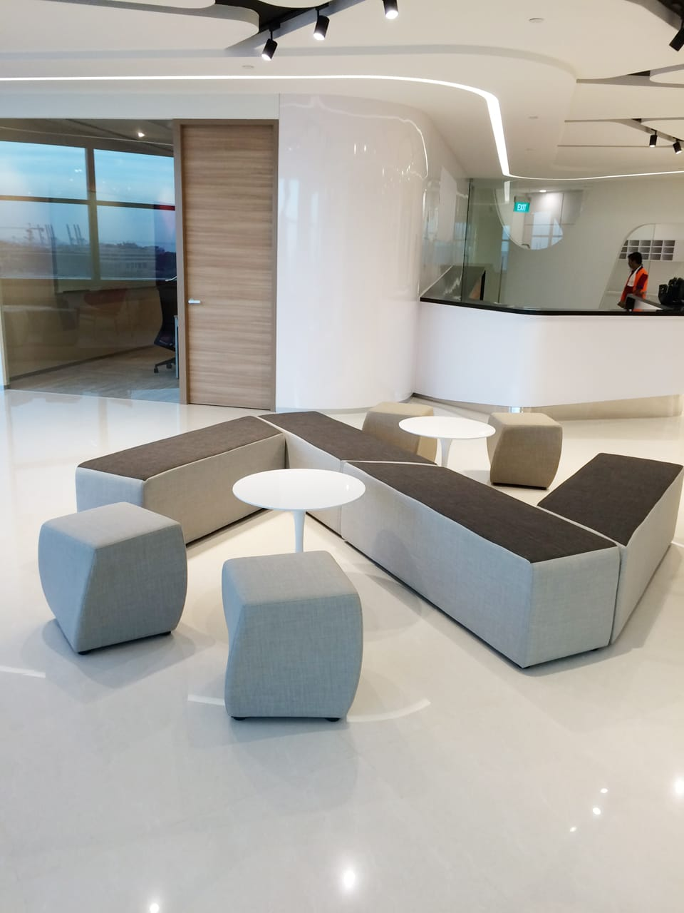 Office - Fusionopolis Innovis | Products Seen: [Megan Coffee Table, Point Bench & Cuba Stool]<br />
