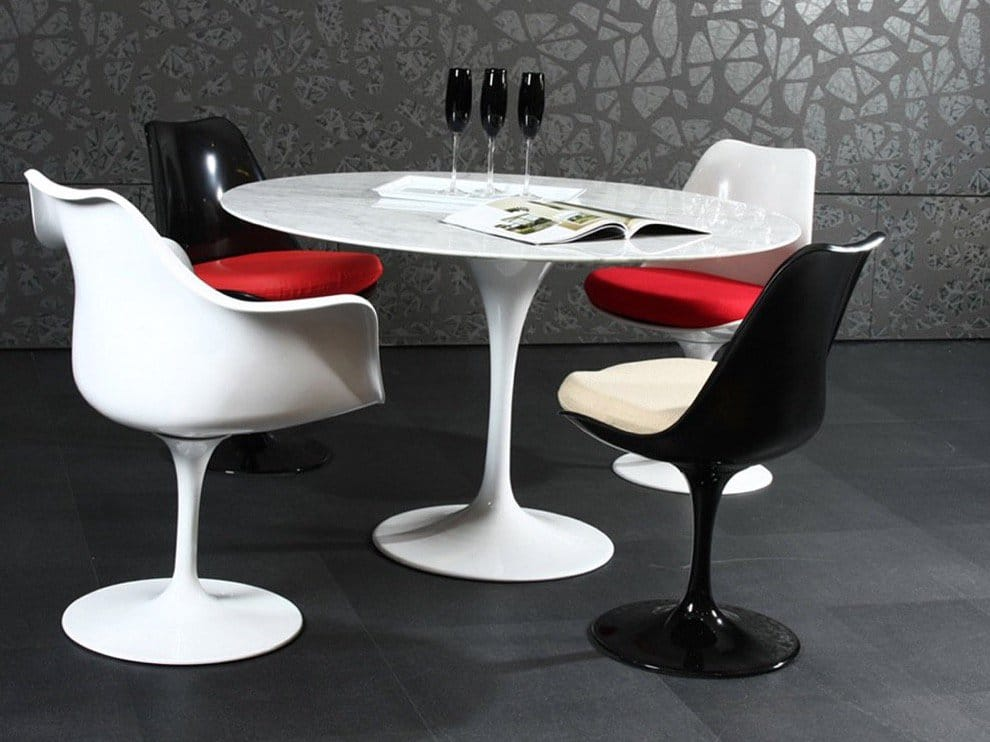 Tulip Dining Table matched with Tulip Side chairs and Arm chairs<br />