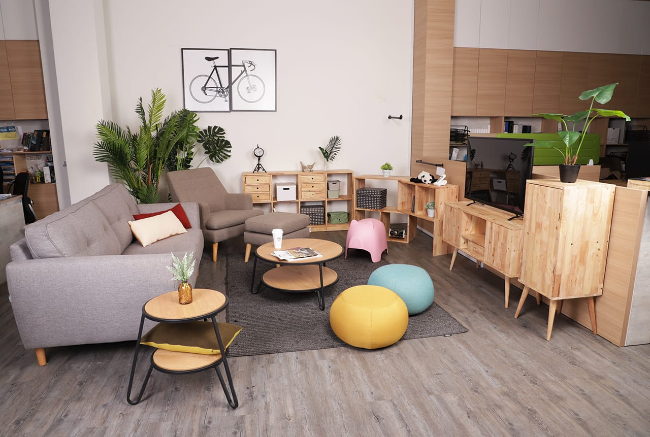 [Poster – Bicycle, Levi Coffee Table – Small, Levi Coffee Table – Big, Korito 3–Seater Sofa, Chimo – Small, Shavick Lounger, Kayama Ottoman, Oink Stool, Yoko Shelf 2x4, Rubic Modular Shelf, Volt TV Console – W1150 & Volt Cabinet - H1020]