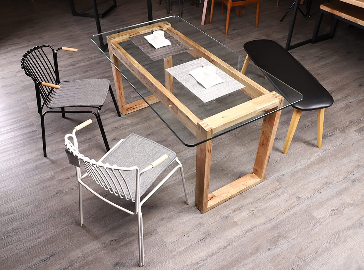 [Paradox Dining Table – W1500, Wire 10 Armchair & Barett Bench]