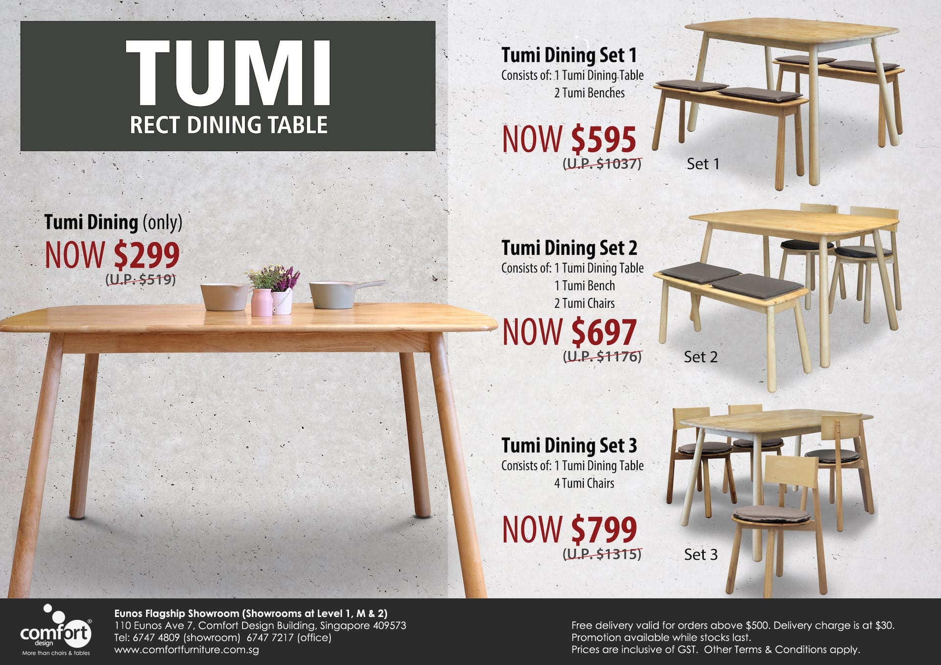 Tumi Rectangle Dining Table – W1350
