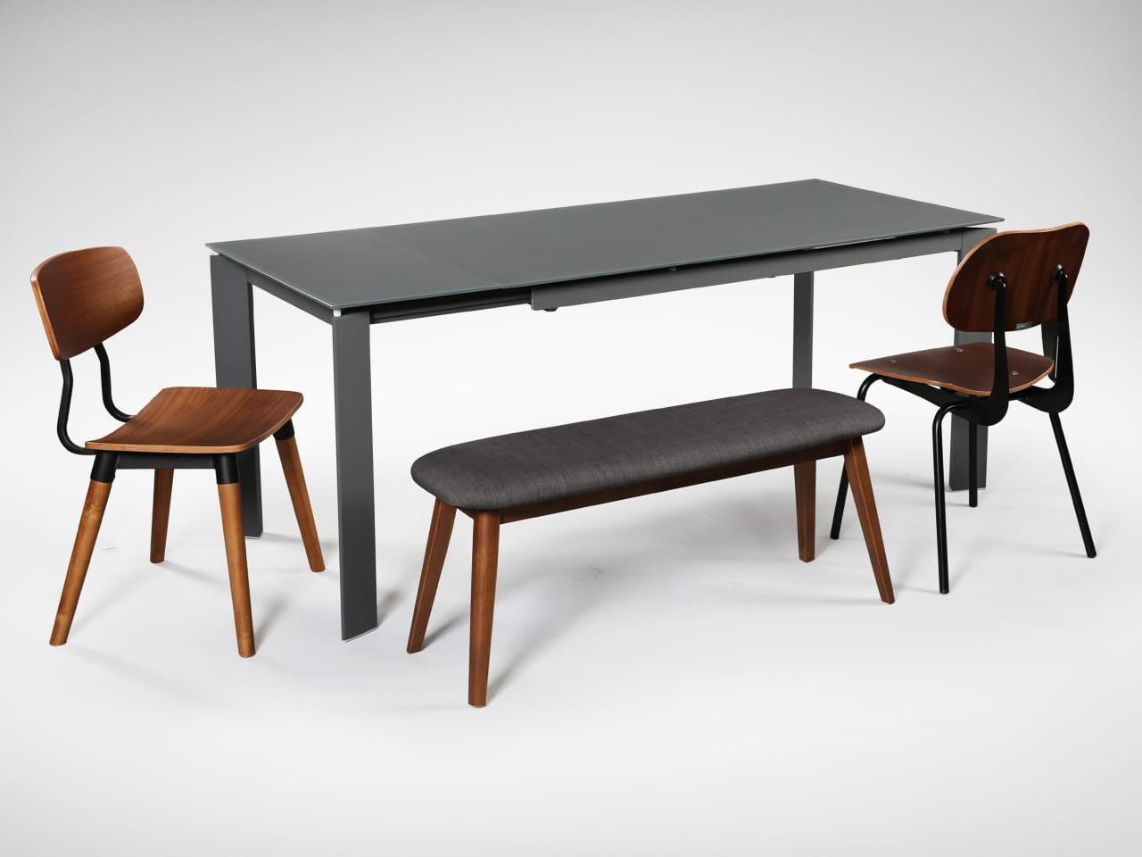 [Kamada Extendable Dining Table, Savvy Sidechair, Spark Chair & Barett Bench]