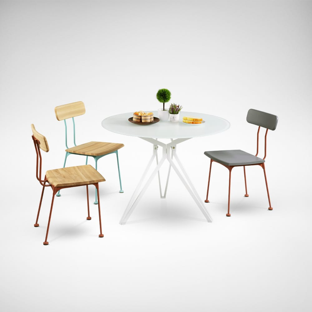 [Haley Dining Table – Dia1000 &amp; Mito Sidechair - Wood Seat]<br />