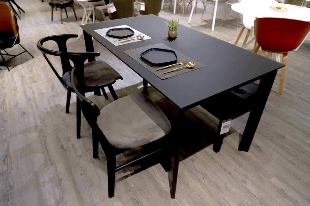 [Raven Dining Table - W1500, Barca Arm Chair & Amaya Side Chair]