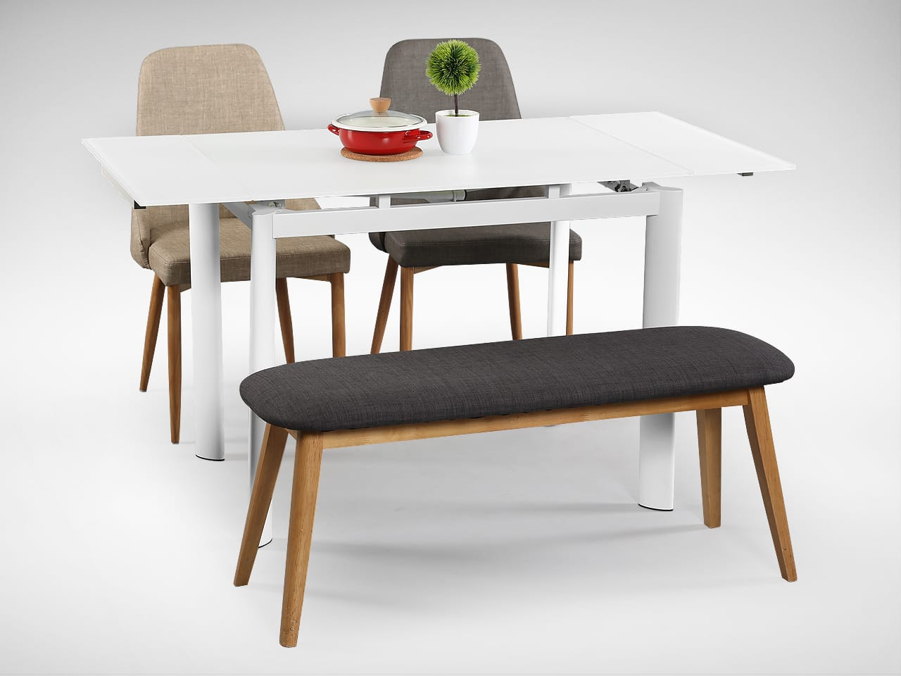 [Vovo Extendable Table, Beatrice Sidechair & Barett Bench]