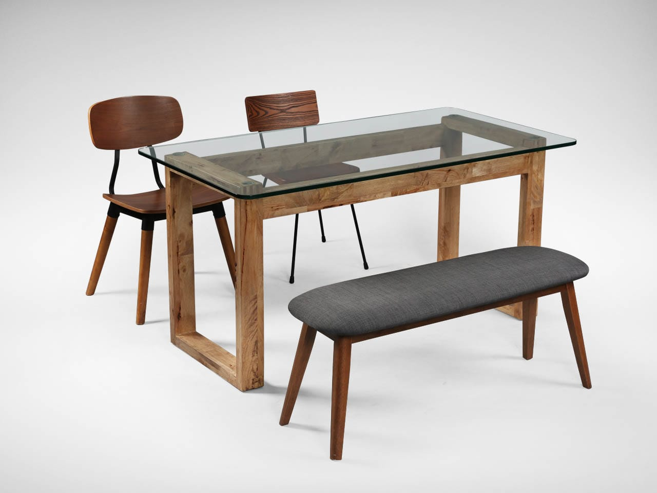 [Paradox Dining Table, Barett Bench, Spark Chair Wood & Glory Sidechair]