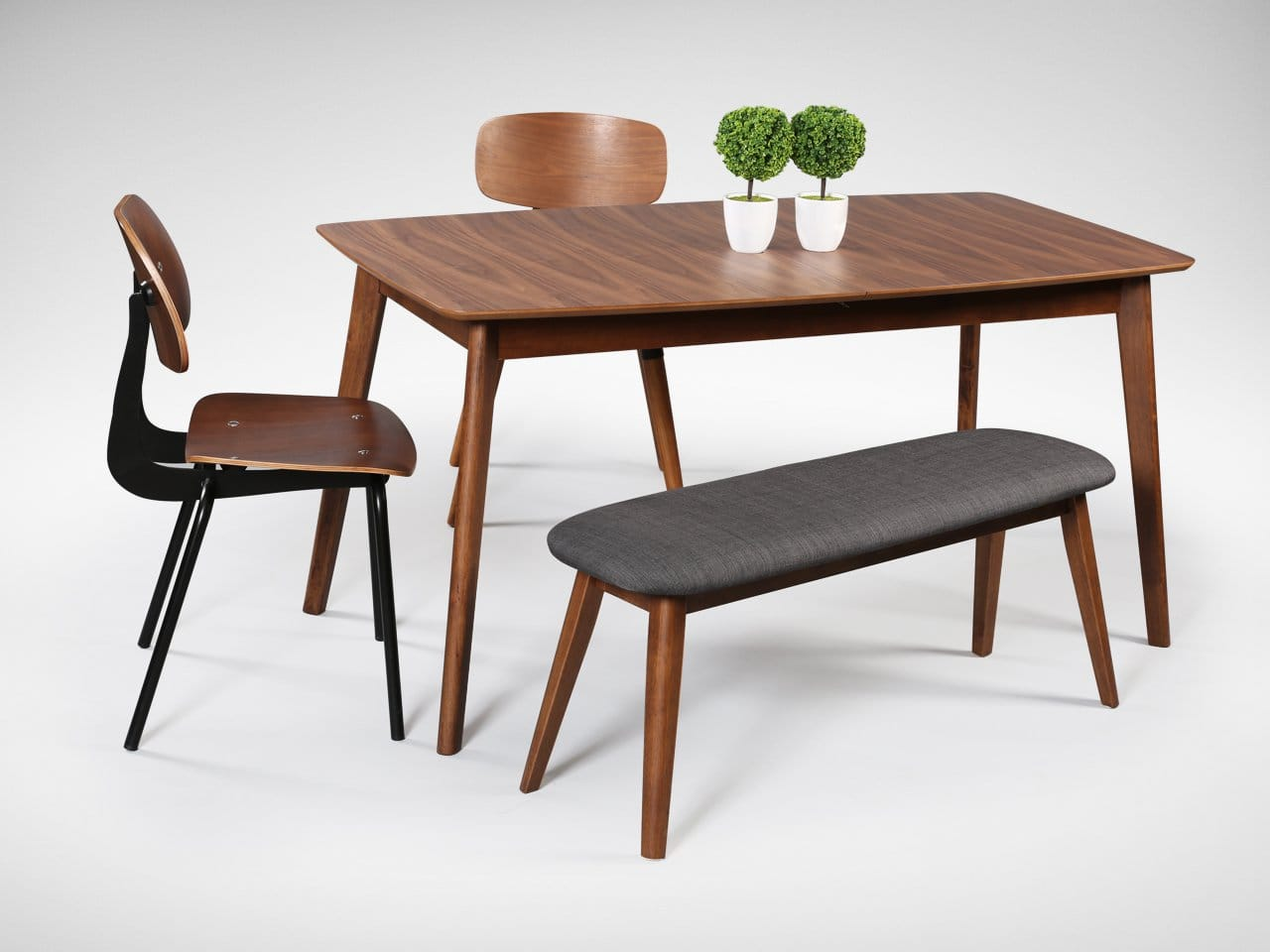 [Masso Dining Table, Savvy Sidechair, Spark Sidechair & Barett Bench]