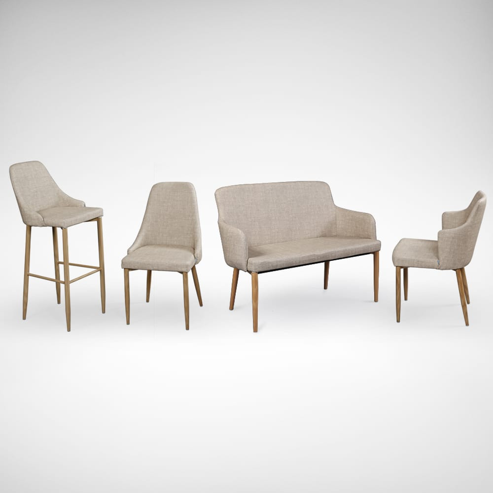 [Debbie Dining Bench, Corine Armchair, Beatrice Sidechair & Amelia Barchair]