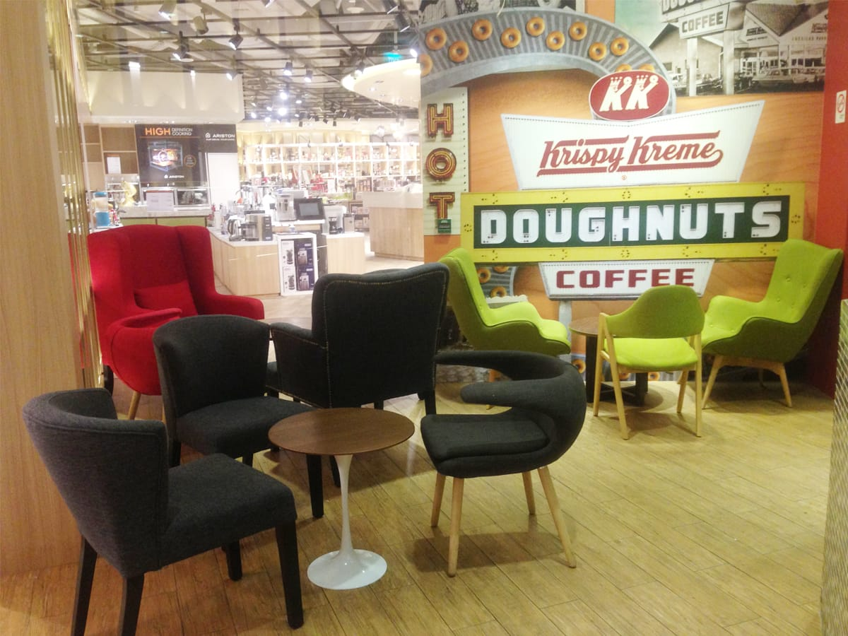 Krispy Kreme - Ion Orchard | Products seen: [Alfred Chair, Majestic 1 Seater Sofa, Brandy Lounger, Gaga Lounger & Tulip Side Table]<br />