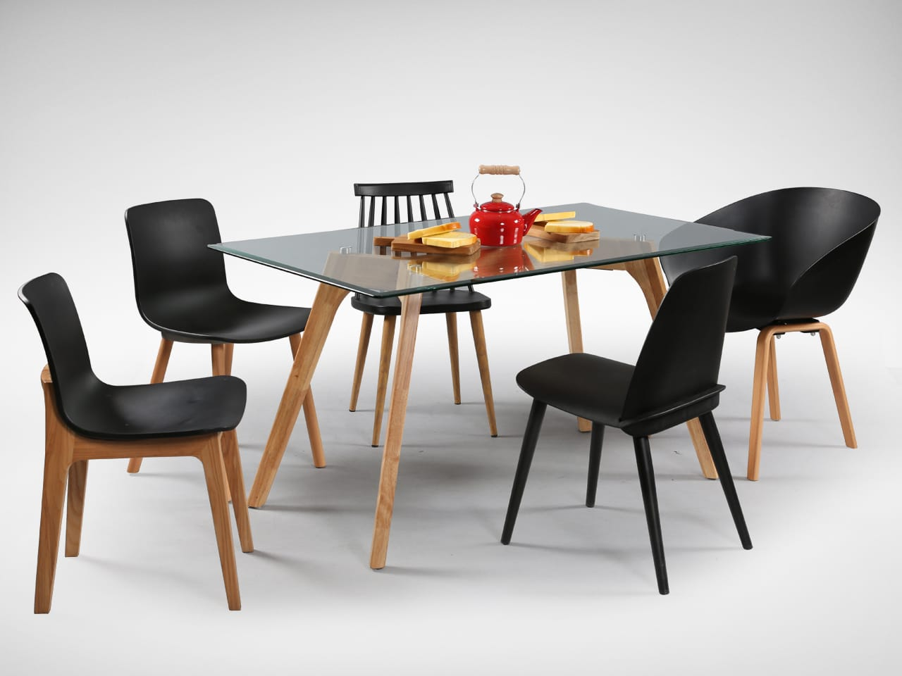 [Ariel Armchair, Plug + Square Leg Chair, Plug + Round Leg Chair, Choyu Chair, Troy Chair & Putin Glass Dining Table]<br />