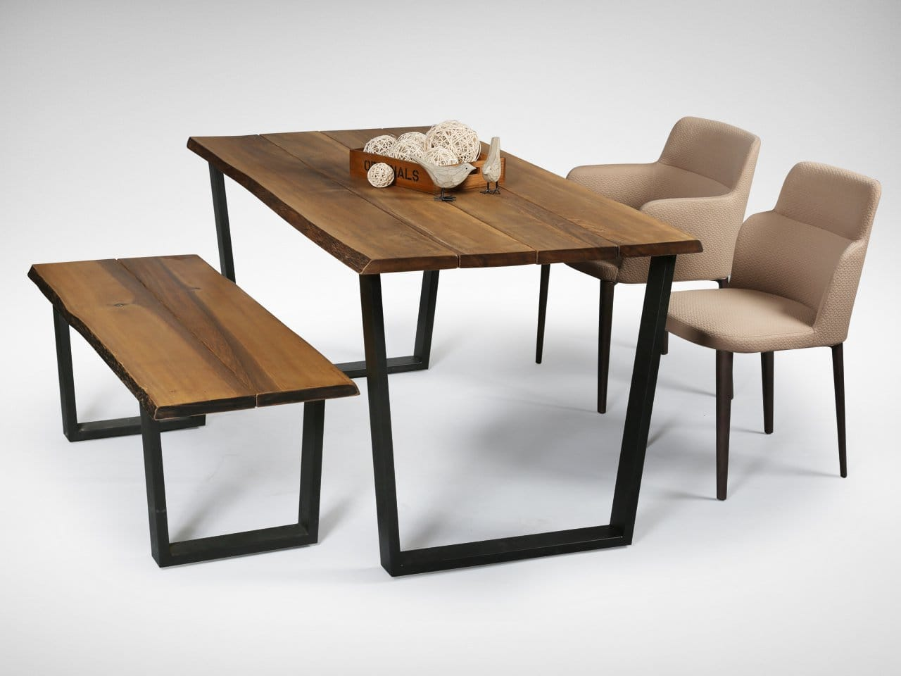[Duncan Bench, Duncan Dining Table, Grange Sidechair & Grange Armchair in Brown color fabric]