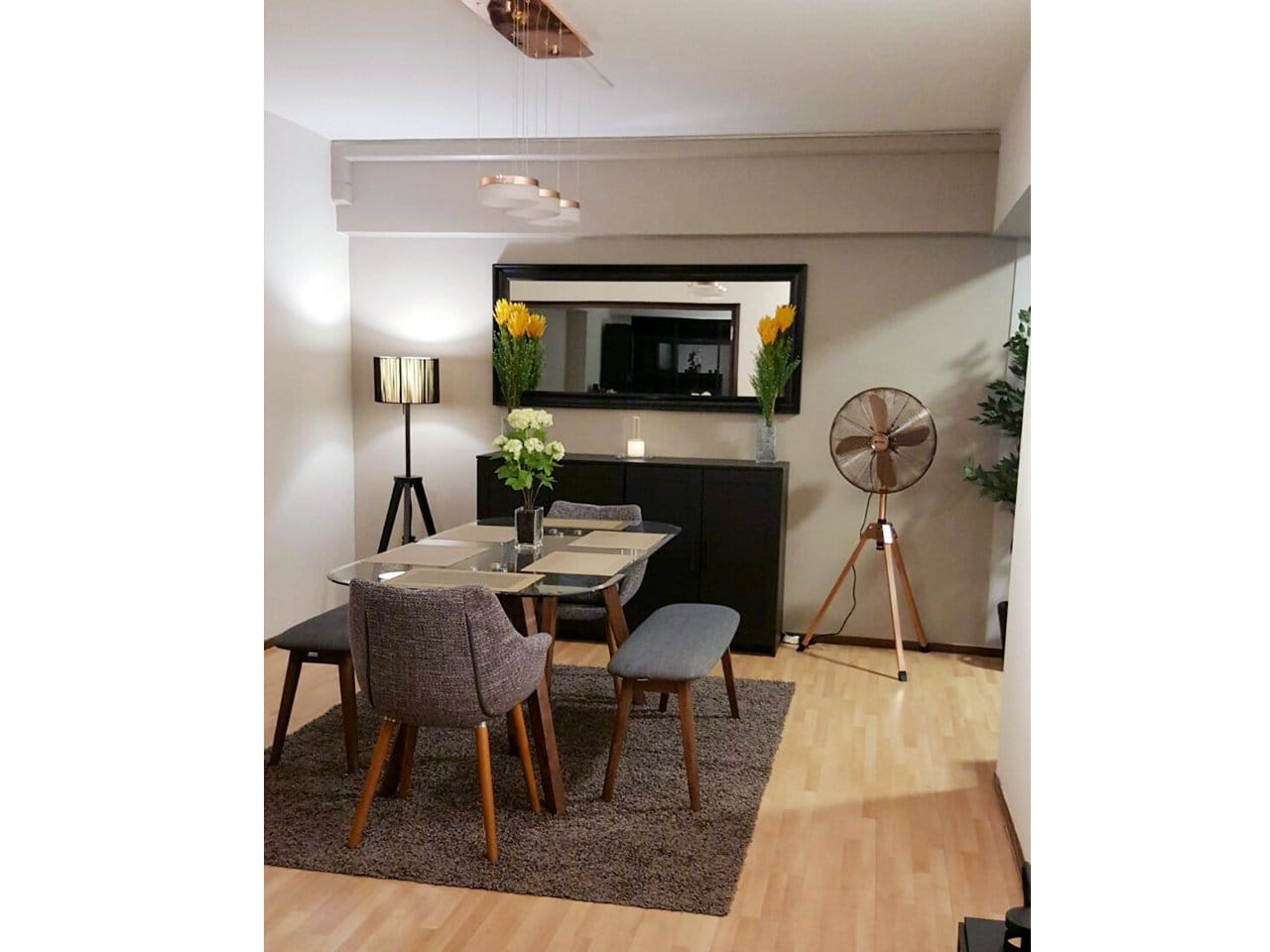 Apartment - Choa Chu Kang | Products Seen: [Barett Bench, Tripod Dining Table & Ayumi Armchair]<br />