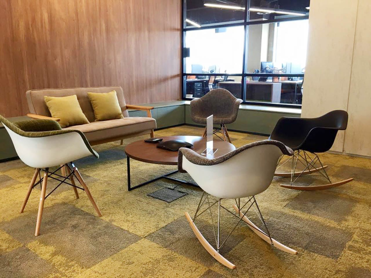 HomeAway - UE Square | Products Seen: [Agatha 2 Seater Sofa, Gum - Half Fabric + Tower Armchair, Gum - Half Fabric + Rocking Armchair, Gum - PP + Rocking Armchair & Satchie Modular Coffee Table]<br />
