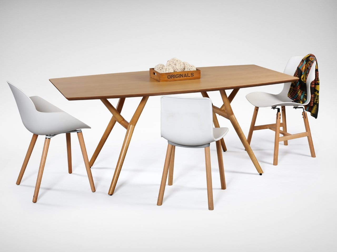 [Branch Dining Table, Nahor Armchair, Plug + Round Leg Chair & Diego Sidechair]