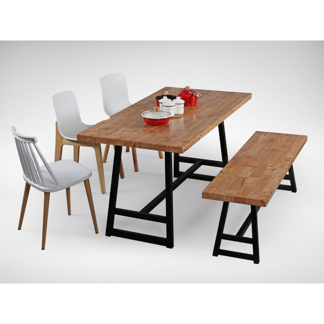 Genial [Choyu Chair, Anderson Dining Table, Anderson Dining Bench, Plug + Square  Leg