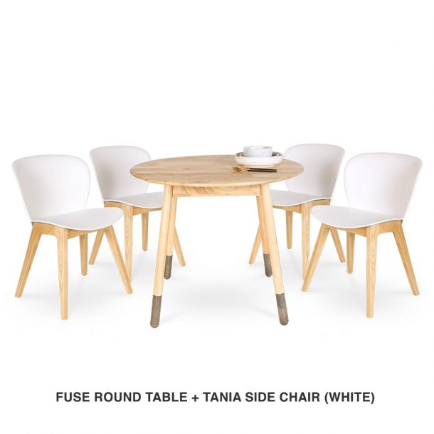 Fuse Round Table + Tania Chair (White)