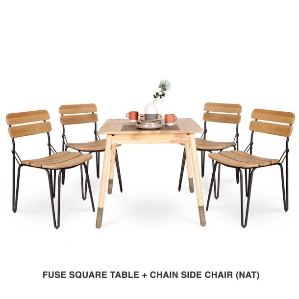 Fuse Square Table + Chain Chair (Natural)