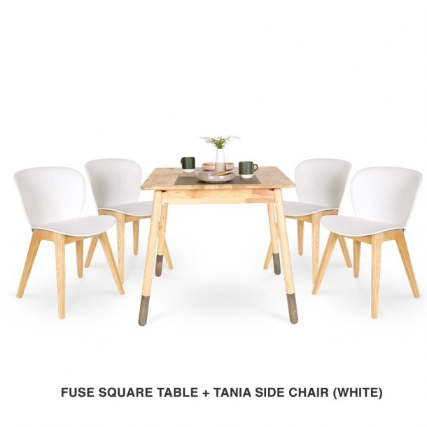 Fuse Square Table + Tania Chair (White)