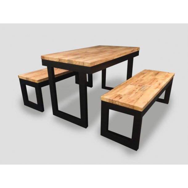 Butcher Table in Natural + Black color – W1200