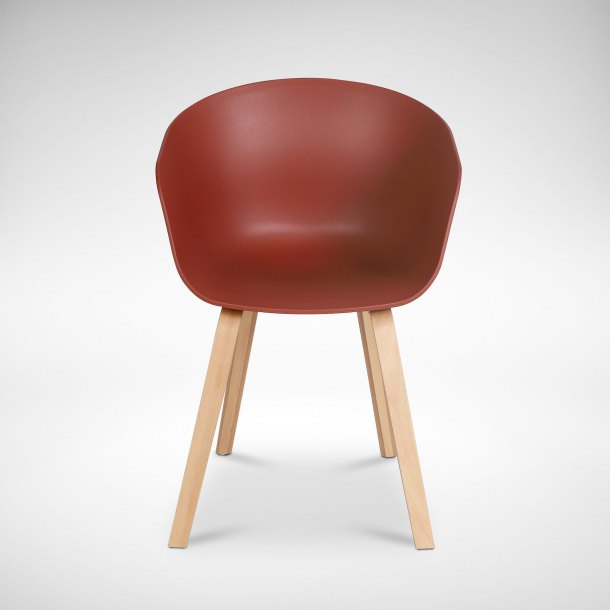 Zara Arm Chair – PP + Wood - Coral Red
